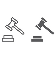 auction line and glyph icon justice and law vector image