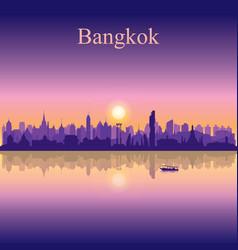 bangkok city silhouette on sunset background vector image