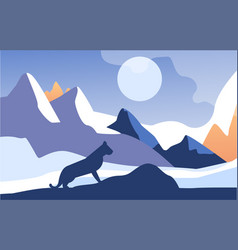 Beautiful scene of nature peaceful mountain vector