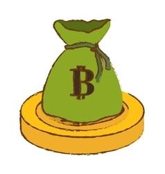 Bitcoin golden digital money with green bag vector