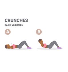 Black girl doing crunch home workout exercise vector