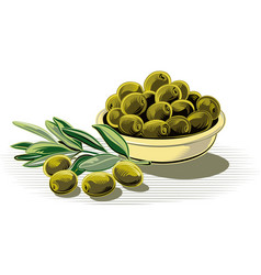 Black olives in a bowl vector