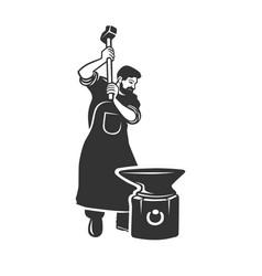 Blacksmith isolated symbol stylized retro emblem vector
