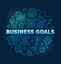 Business goals round blue outline vector