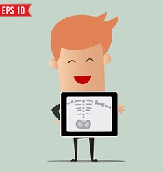 Business man showing scan X-ray report - - E vector