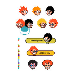cartoon characters geeks in a flat style image vector image