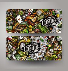 cartoon cute doodles casino horizontal banners set vector image
