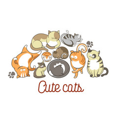 cat poses cartoon cute kitten pets poster vector image