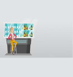 Caucasian woman sitting at the bar counter vector