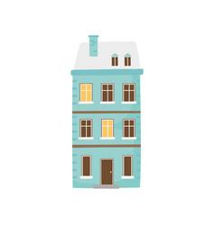 Classic house winter snow facade icon vector