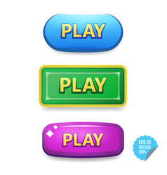 colorful buttons with play tittle bright vector image
