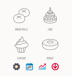 cupcake cake and bread rolls icons vector image vector image
