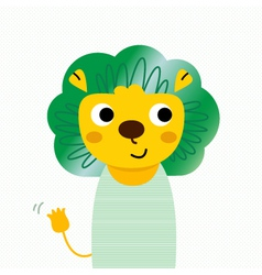 Cute beautiful cartoon lion isolated on dotted vector
