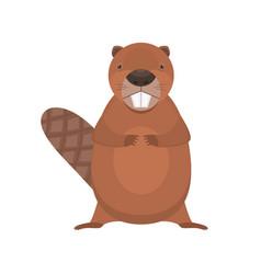 cute cartoon flat standing beaver character vector image