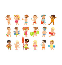 cute kids toons are having fun on beach vector image
