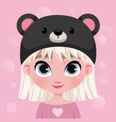 cute little girl character in hat on pink vector image