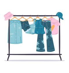 denim clothing jeans garments hanging on hanger vector image