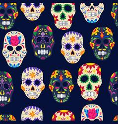 dia de los muertos painted sugar skull seamless vector image