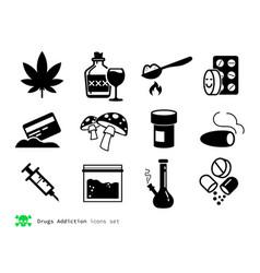 drugs and addiction icons vector image