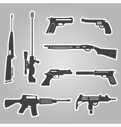 firearms weapons and guns black stickers eps10 vector image