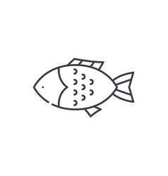 fish line icon concept fish linear vector image