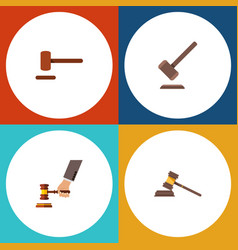 Flat icon hammer set of court defense crime and vector
