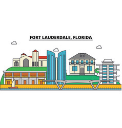Fort lauderdale florida city skyline vector