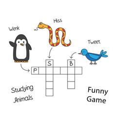 Funny animals crossword for children vector