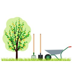 Gardening tree wheelbarrow vector