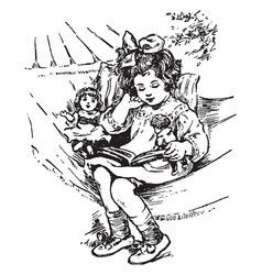 Girl reading doll vintage engraving vector