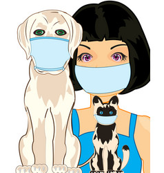 Girl with home animal in defensive armband vector