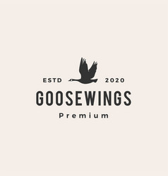 goose hipster vintage logo icon vector image