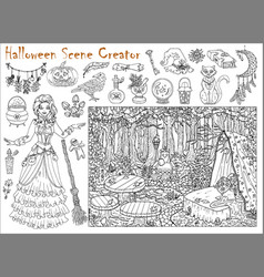 halloween scene creator set with witch vector image