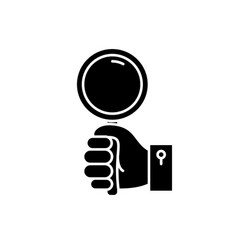 hand with magnifier black icon sign on vector image