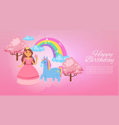 happy birthday magic background banner vector image