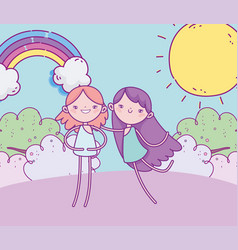 happy valentines day funny cupids grass rainbow vector image