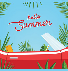 Hello summer poster trendy banner presenting vector