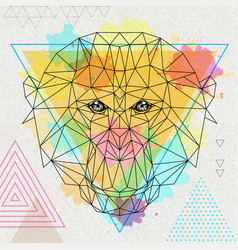 Hipster polygonal animal monkey vector