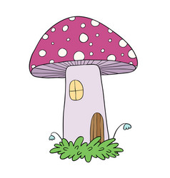 House for gnomes fly agaric mushrooms vector