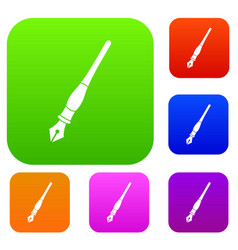 ink pen set color collection vector image