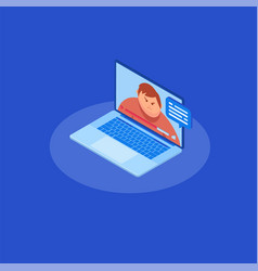 isometrics video chatting online on computer vector image