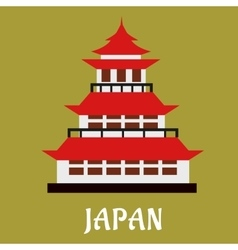 Japanese traditional pagoda flat icon vector