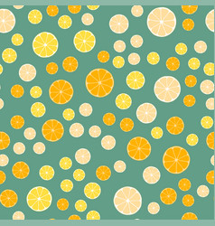 lemon slices on a green background vector image