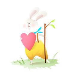 little rabbit holding heart gift card clip art vector image