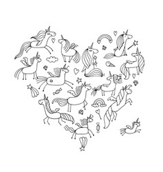 Magic unicorns collection heart shape for your vector