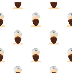 Man with beard and mustache wearing turban pattern vector