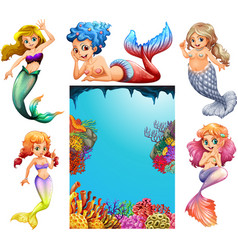 Mermaid characters and underwater scene background vector