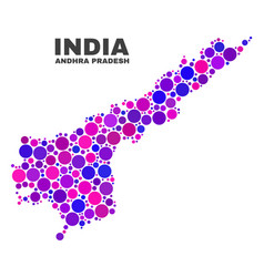 mosaic andhra pradesh state map of round items vector image
