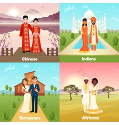 Multicultural wedding couples design concept vector
