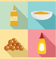 Mustard seeds sauce bottle icons set flat style vector